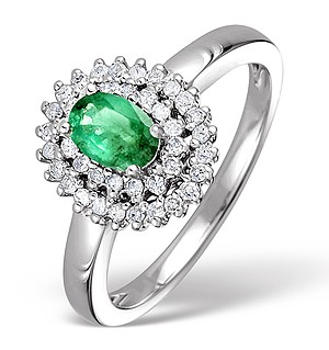9K White Gold Diamond and Emerald Ring 0.28ct