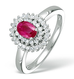 9K White Gold Diamond and Ruby Ring 0.28ct