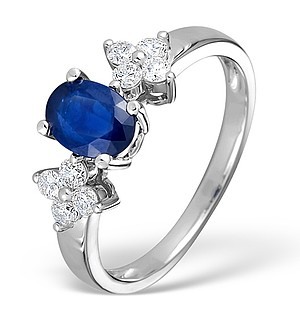 9K White Gold Diamond and Sapphire Ring 0.30ct
