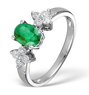 9K White Gold Diamond and Emerald Ring 0.30ct