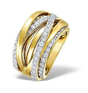 9K Gold Diamond Crossover Big Fancy Ring 1.20ct