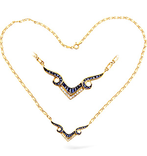 18KY Diamond and Sapphire Wishbone Necklace 0.25ct