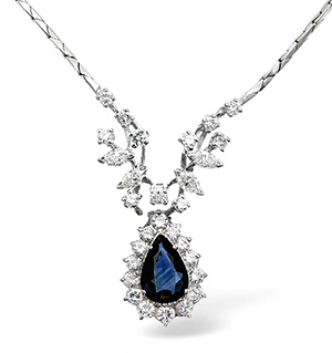 18KW Diamond and Sapphire Drop Cluster Necklace 2.00ct 16Inches