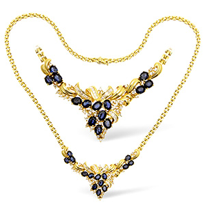 18KY Diamond and Sapphire Intricate Design Necklace 1.00ct 18Inches