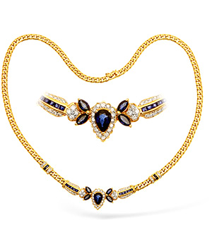 18KY Diamond and Sapphire Design Necklace 1.00ct 16Inches