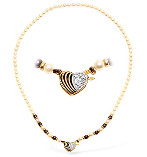 9KY Pearl and Diamond Necklace with Heart Detail 15Inches