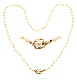 9KY Pearl and Diamond Necklace 17.5Inches