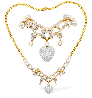 18KY Diamond Intricate Heart Drop Necklace 2.00ct 16Inches
