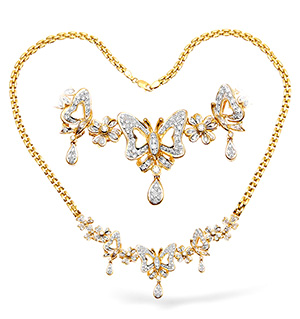 18KY Diamond Butterfly Design Necklace 1.50ct 16Inches