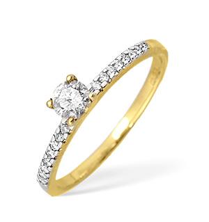 9KY Diamond Single Stone Ring with Shoulder Diamonds 0.33CT