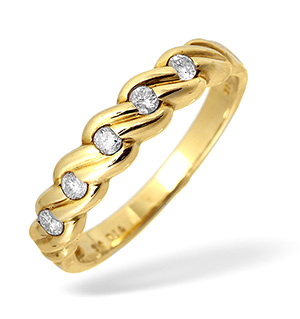 9KY Diamond Twist Design Ring 0.25CT
