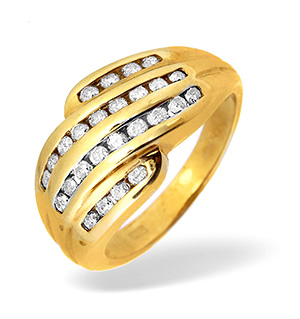 14KY Diamond Channel Set Ring 0.53CT