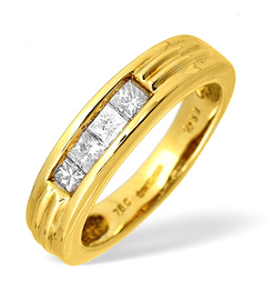 18KY Diamond Princess Cut Four Stone Ring 0.52CT