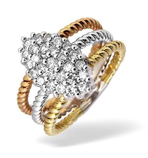 9K Three Tone Diamond Cluster Ring 0.74CT