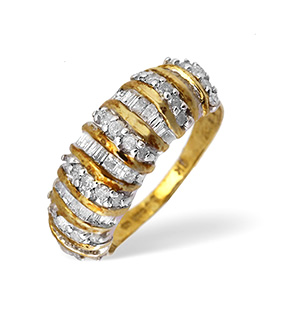 9KY Baguette and Brilliant Diamond Ring 1.00CT
