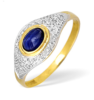 9KY Diamond and Kanchan Sapphire Pave Ring 0.05CT