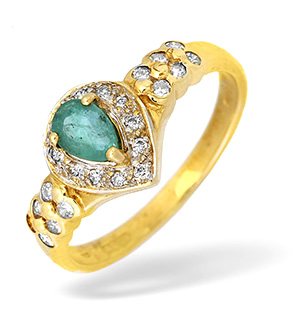 9KY Diamond and Emerald Teardrop Ring 0.20CT