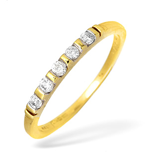 18KY Diamond Half Eternity Ring with Gold Detail 0.22ct