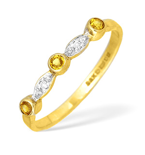 9KY Diamond and Yellow Sapphire Detail Ring 0.05ct