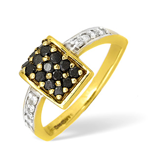 9KY Diamond and Black Diamond Pave Design Ring 0.12ct BD0.25ct