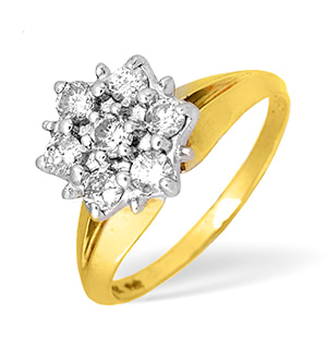 9KY Diamond Flower Cluster Ring 0.50ct