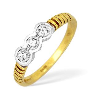 18KY Diamond Three Stone Rubover Ring 0.50ct