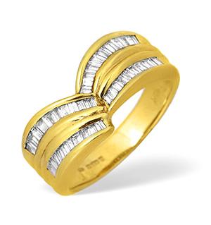 18KY Baguette Diamond Channel Set Design Ring 0.60ct