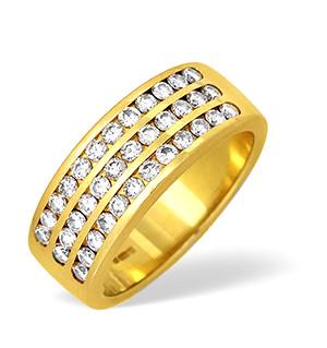 18KY Three Row Channel Set Diamond Ring 1.00ct