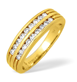 18KY Two Row Channel Set Diamond Ring 0.50ct