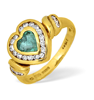 18KY Diamond and Emerald Heart Design Ring 0.40ct