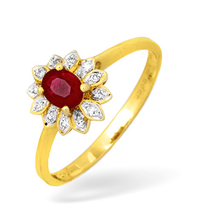 9KY Diamond and Ruby Flower Cluster Ring 0.10ct