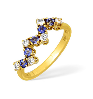 18KY Diamond and Kanchan Sapphire Jagged Design Ring 0.25ct