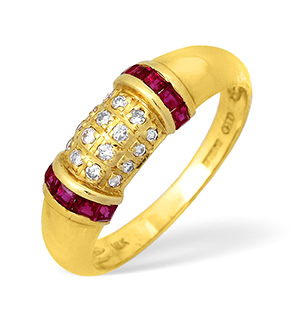 18KY Diamond and Ruby Design Ring 0.10ct