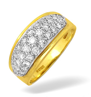 18KY Diamond Pave Half Eternity Ring 0.75ct