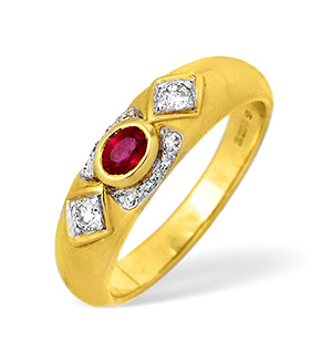 18KY Single Stone Ruby Rubover Ring with Diamond Design 0.20ct