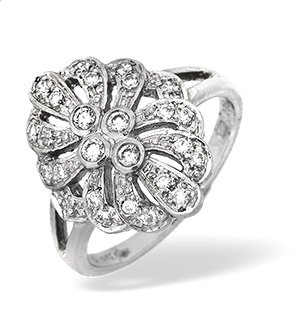 Platinum Diamond Intricate Design Ring 0.35ct