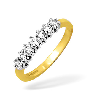 18KY Seven Stone Claw Set Diamond Ring 0.50CT