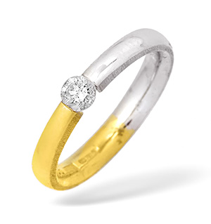 Two Tone Single Stone Diamond Ring 0.20CT