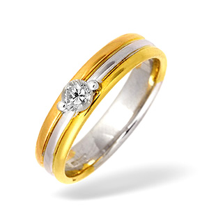 18K Three Tone Diamond Solitaire Ring 0.20CT