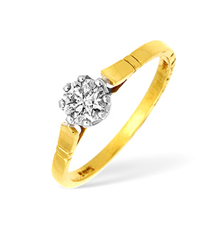 18KY Diamond Solitaire Ring 0.45CT