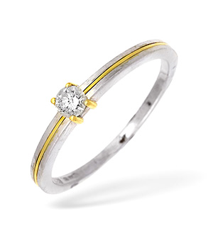 18KW Single Stone Diamond Ring with Gold Detail 0.20CT