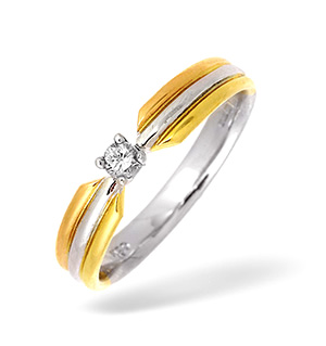 18K Three Tone Diamond Solitaire Ring 0.10CT