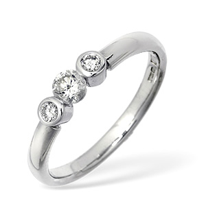18KW Three Stone Diamond Rubover Ring 0.34CT