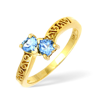 9KY Two Stone Blue Topaz Heart Design Ring