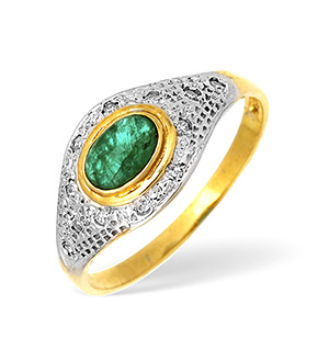 9KY Diamond and Emerald Pave Ring 0.05ct
