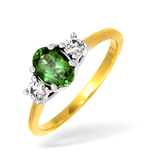 18KY Tsavorite Ring with Shoulder Diamonds 0.20CT TS 0.84CT