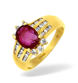 18KY Channel Set Diamond and Ruby Ring 0.33CT
