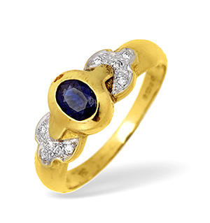 18KY Rubover Sapphire Ring with Diamond Shoulder Detail 0.10CT
