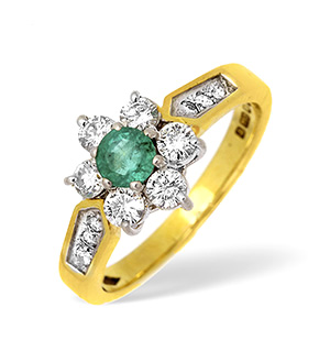 18KY Diamond and Emerald Flower Cluster Ring with Shoulder Detail 0.70CT
