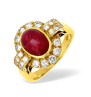 18KY Diamond and Ruby Intricate Design Ring 1.00CT